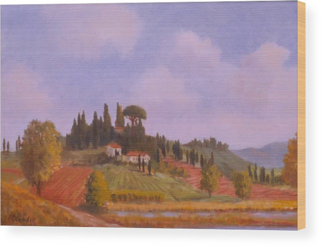 On Location Landscape In Tuscany Italy Wood Print featuring the painting Tuscan Hillside by David Olander