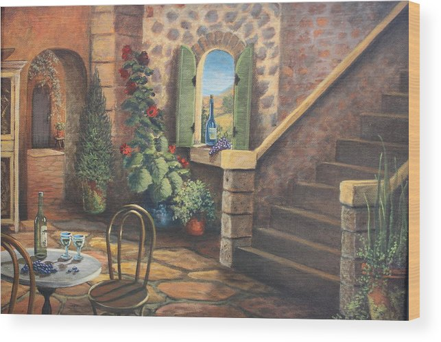 Stairway Wood Print featuring the painting Tuscan Retreat by Diana Miller