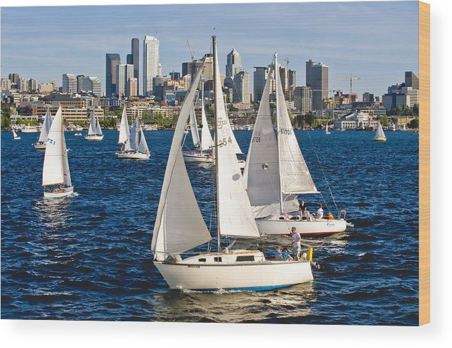 Seattle Wood Print featuring the photograph Two Pass By by Tom Dowd