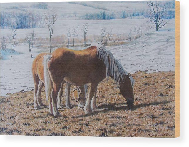 Horses Wood Print featuring the mixed media Two Ponies In The Snow by Constance Drescher