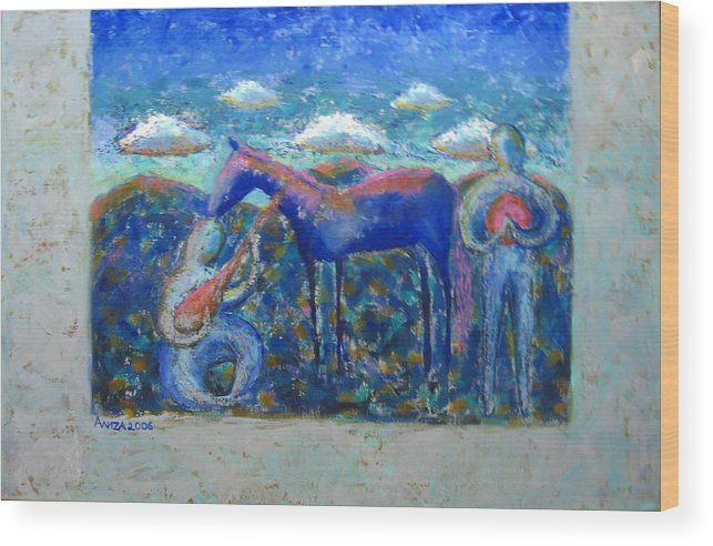 Horse Wood Print featuring the painting Two Spirits by Aliza Souleyeva-Alexander