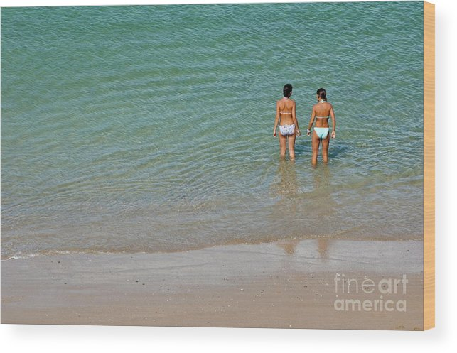 Bathing Suit Wood Print featuring the photograph Two Teenage Girls Bathing At The Beach by Sami Sarkis