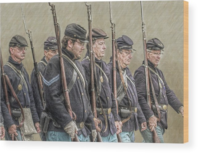 Soldier Wood Print featuring the digital art Union Veteran Soldiers Parade by Randy Steele