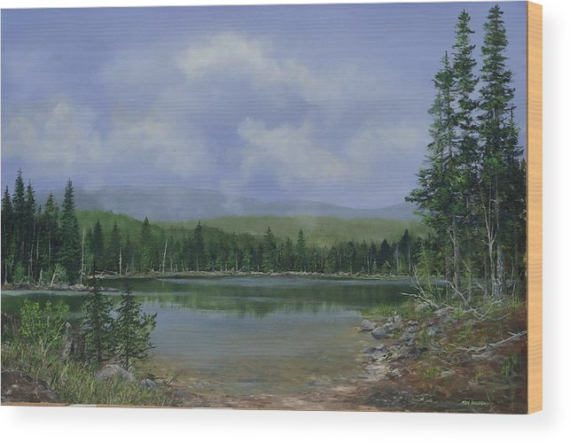 Lake Wood Print featuring the painting Upland Lake by Ken Ahlering
