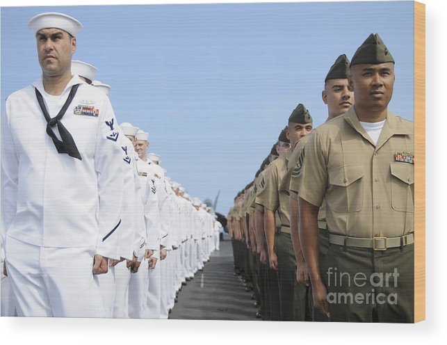 Man The Rails Wood Print featuring the photograph U.s. Marines And Sailors Stand by Stocktrek Images