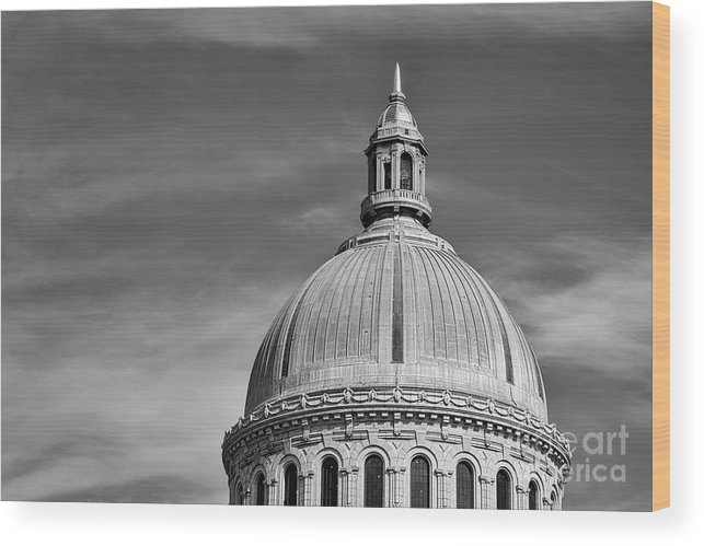 Academy Wood Print featuring the photograph U.s. Naval Academy Chapel Dome Bw by Jerry Fornarotto