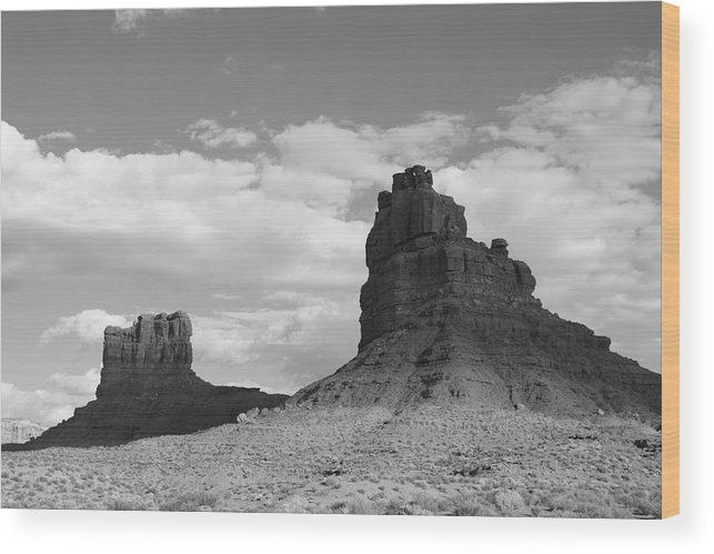 Black And White Wood Print featuring the photograph Valley Of The Gods Shadows by Troy Montemayor