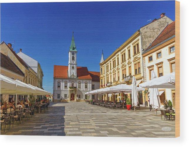 Square Wood Print featuring the photograph Varazdin Main Square, Croatia by Elenarts - Elena Duvernay photo
