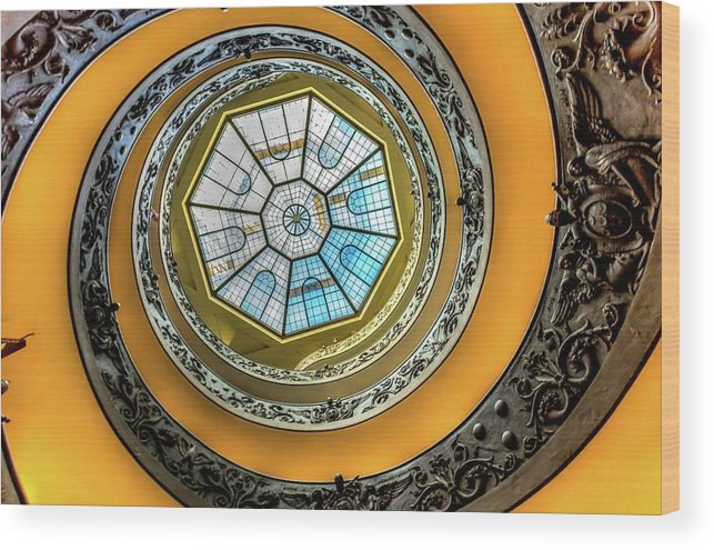 Architecture Wood Print featuring the photograph Vatican Staircase Looking Up by Mike Houghton BlueMaxPhotography