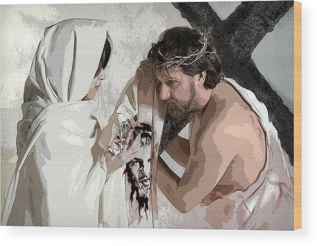 Religious Wood Print featuring the photograph Veronica Wipes The Face Of Jesus by Jacqueline Milner