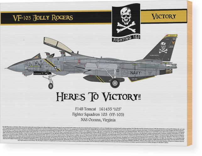 F-14 Tomcat Wood Print featuring the drawing Vf-103 Jolly Rogers by Dan Teker
