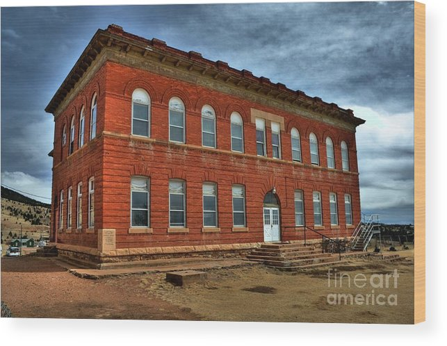 School Wood Print featuring the photograph Victor High School by Tony Baca