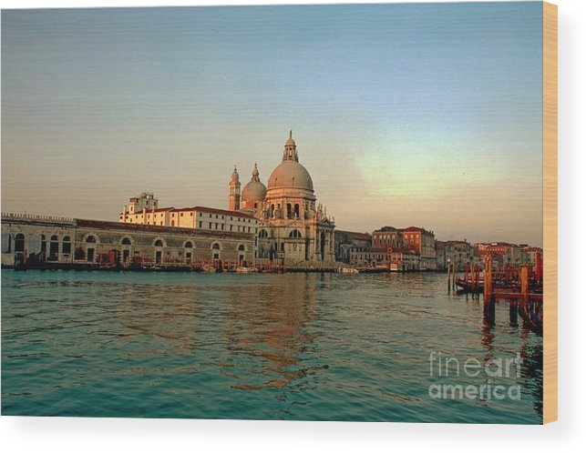 Venice Wood Print featuring the photograph View Of Santa Maria Della Salute On Grand Canal In Venice by Michael Henderson