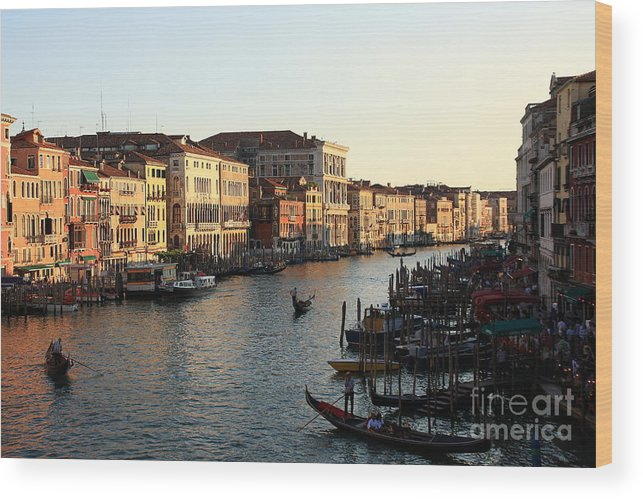Venice Wood Print featuring the photograph View Of The Grand Canal In Venice From The Rialto Bridge by Michael Henderson