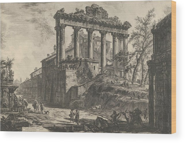 18th Century Art Wood Print featuring the relief View Of The So-called Temple Of Concord With The Temple Of Saturn, On The Right The Arch Of Septimiu by Giovanni Battista Piranesi