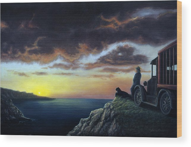 Ocean Wood Print featuring the painting Viewing The Bay by Lance Anderson