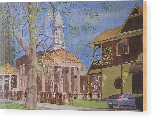 Hybrid Car Old Village Hall With Flags Wood Print featuring the painting Village Hall- Montour Falls by Joseph Stevenson