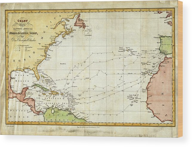 Vintage Christopher Columbus Voyage Map Wood Print by ... on