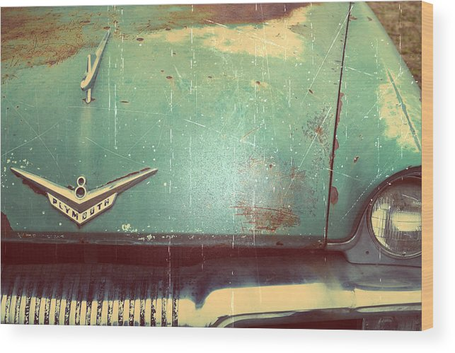 Antique Wood Print featuring the photograph Vintage Effects Plymouth Hood by GK Hebert Photography