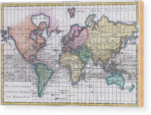 Vintage map of the world 1780 wood print by cartographyassociates world wood print featuring the drawing vintage map of the world 1780 by cartographyassociates gumiabroncs Gallery
