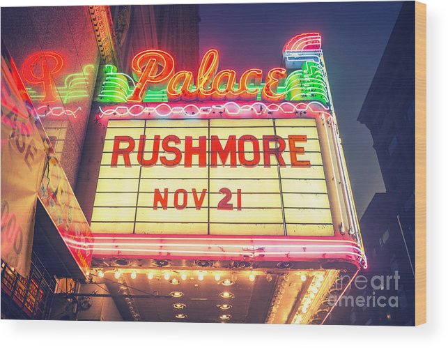 Neon Wood Print featuring the photograph Vintage Neon Sign Over The Entrance To Historic Palace Theatre In Downtown La. by Konstantin Sutyagin