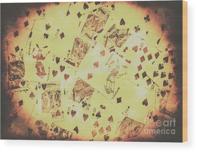 Poker Wood Print featuring the photograph Vintage Poker Card Background by Jorgo Photography - Wall Art Gallery