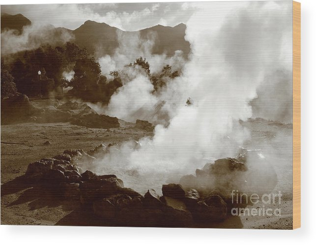 Azores Wood Print featuring the photograph Volcanic Steam by Gaspar Avila