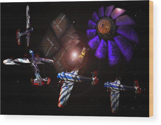 Vortex Wood Print featuring the digital art Wagon Train To The Stars by Charles Stuart