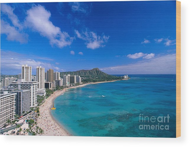 Aerial Wood Print featuring the photograph Waikiki And Diamond Head by William Waterfall - Printscapes