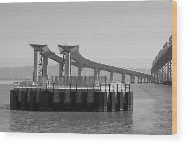 Water Wood Print featuring the photograph Waiting For The Bridge by Jerry Patchin