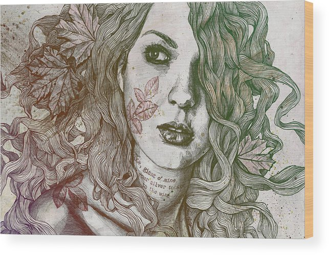 Graffiti Wood Print featuring the drawing Wake - Autumn - Street Art Woman With Maple Leaves Tattoo by Marco Paludet