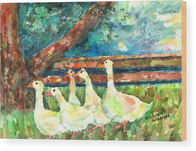 Ducks Wood Print featuring the mixed media Walking Through The Grass by Arline Wagner