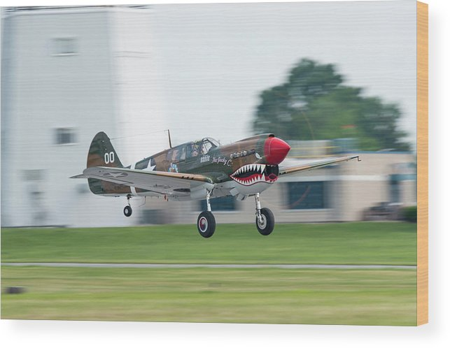 P-40 Wood Print featuring the photograph Warhawk Rolling Out by Christian Gross