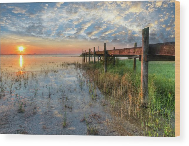 Clouds Wood Print featuring the photograph Watching The Sun Rise by Debra and Dave Vanderlaan
