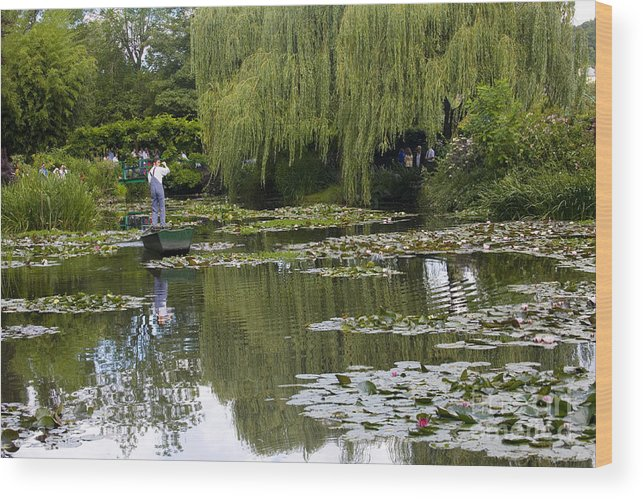 Monet Gardens Giverny France Water Lily Punt Boat Water Willows Wood Print featuring the photograph Water Lily Garden Of Monet In Giverny by Sheila Smart Fine Art Photography