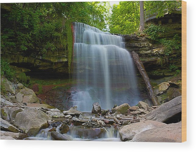 Hamilton Wood Print featuring the photograph Waterdown Falls by Ray Akey