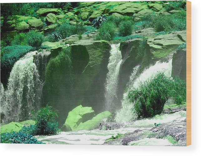 Water Wood Print featuring the photograph Waterfall by Apurva Madia