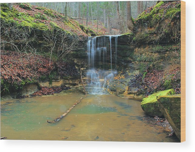 Waterfall Wood Print featuring the photograph Waterfall At Don Robinson State Park 1 by Greg Matchick