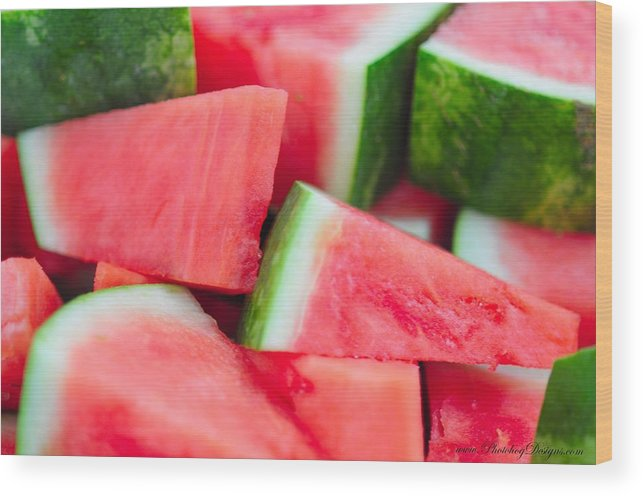 Watermelon Wood Print featuring the photograph Watermelon 6673 by PhotohogDesigns