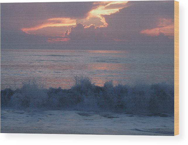 Sunrise Wood Print featuring the photograph Wave Action At Sunrise by Michael Vanatta