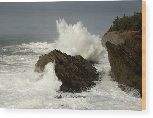 Lighthouse Wood Print featuring the photograph Wave At Shore Acres 2 by Bob Christopher