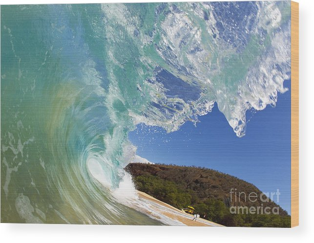 Aqua Wood Print featuring the photograph Wave Breaking by MakenaStockMedia - Printscapes