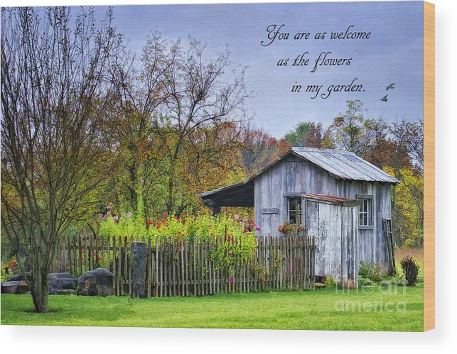 Welcome To My Garden Wood Print featuring the photograph Welcome To My Garden by Priscilla Burgers