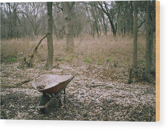 Wood Print featuring the photograph Wheel Barrel In San Antonio by Kareem Farooq