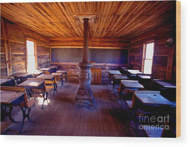 School Wood Print featuring the photograph When School Was In 1-room by Paul W Faust - Impressions of Light