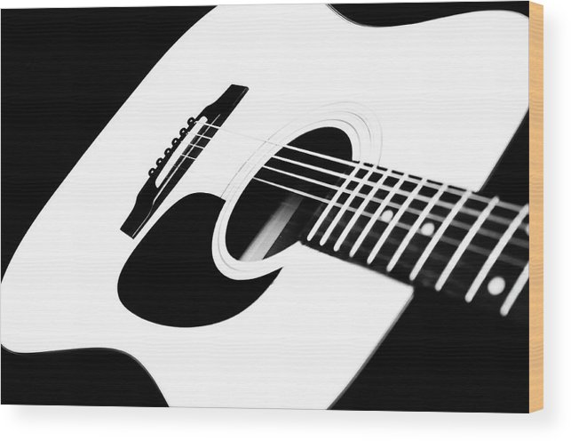 White Guitar Wood Print featuring the photograph White Guitar 4 by Andee Design