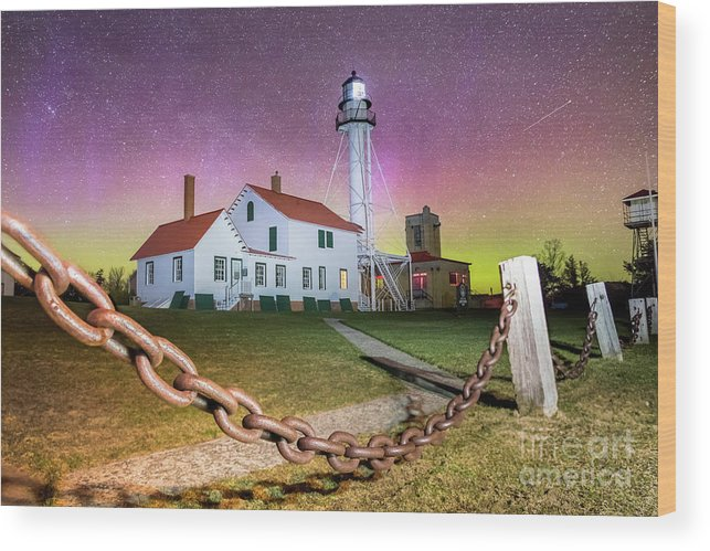 Lighthouse Whitefish Point Wood Print featuring the photograph Whitefish Point Lighthouse  Northern Lights -0524 by Norris Seward