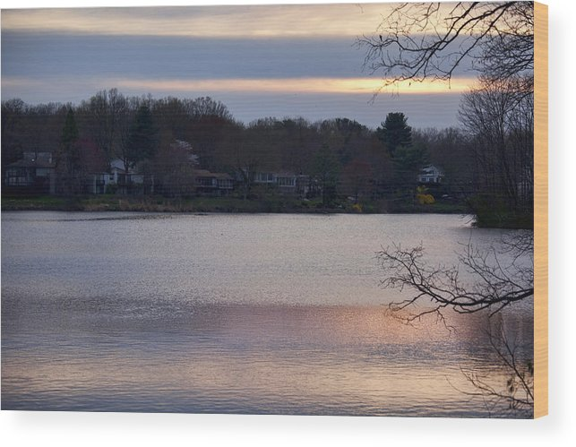Wilde Lake Wood Print featuring the photograph Wilde Lake At Sunset by Christina Durity