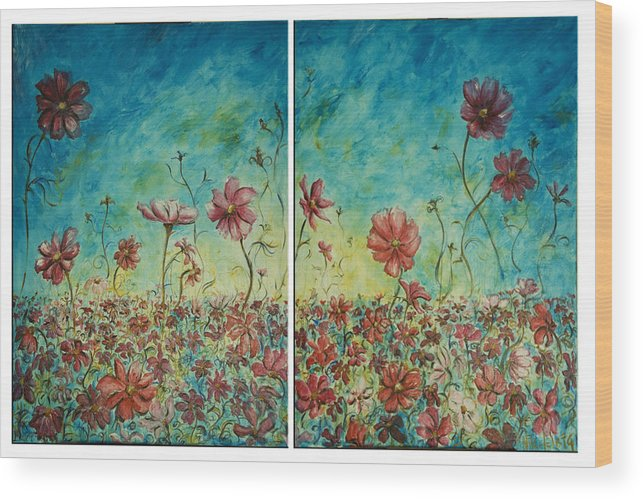 Flowers Wood Print featuring the painting Wind Dancers by Nik Helbig