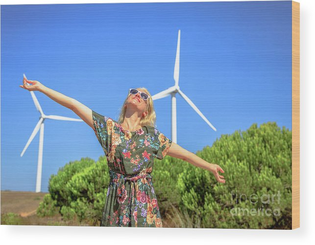 Wind Turbines Wood Print featuring the photograph Wind Turbines Woman by Benny Marty